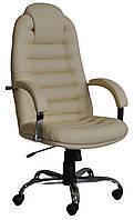 [ Кресло Tunis P Steel Chrome H-17 + Подарок ] Офисное кресло с хромированными подлокотниками эко кожа беж