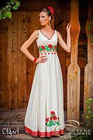Платье свадебное, с вышивкой маками