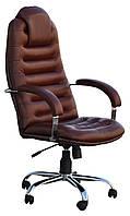[ Кресло Tunis P Steel Chrome LE-09 + Подарок ] Офисное кресло с хромированными подлокотниками нат. кожа корич