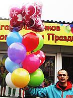 Букет-фонтан из шариков с Бабочкой на День рождения