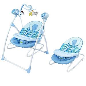 Кресло-качалка BT-SC-0005 BLUE . Колыбель-качели 3 в 1, с пультом