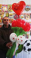 Букет из 7 роз и гелиевый шар сердце на День рождения, Юбилей, Свадьбу