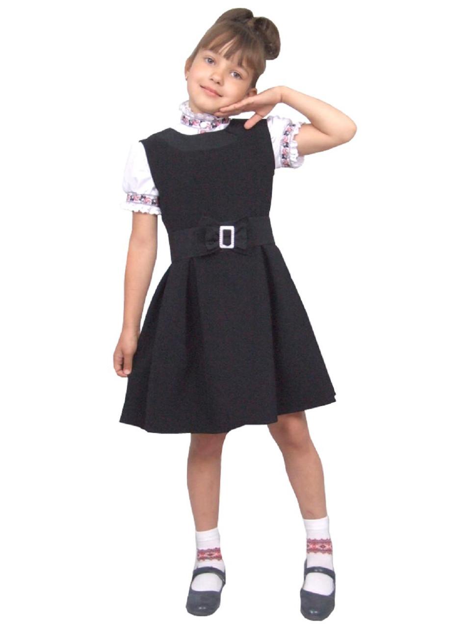 """Сарафан шкільний для дівчинки М-1002 зростання 128 134 140 146 152 158 тм """"Попелюшка"""""""