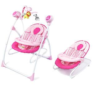 Кресло-качалка BT-SC-0005 PINK . Колыбель-качели 3 в 1, с пультом