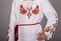 Вышитое платье для девочки с уникальным орнаментом на белом габардине, фото 3