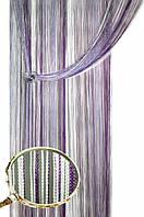 Штора кисея радужная (белый+сирень+фиолетовый)