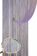 Нитяные шторы с люрексом (сирнеь с серебряным люрексом)