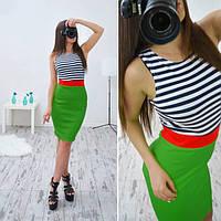 Платье летнее трикотажное комбинированное в разных цветах SMB190