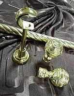 Кованый карниз Арабеска ø19мм цвет золото длина 3м