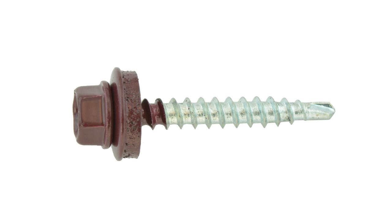 Саморез кровельный по металу 4,8х19 RAL 3005 (винно-красный). (упаковка 250 шт.)