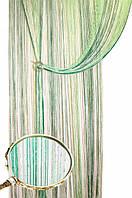 Нитяные шторы дождь радуга 1+15+211 (белый+салатовый+изумруд)