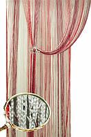 Нитяные шторы Радуга Дождь 1+4+7 (белый+бордо+серебро)