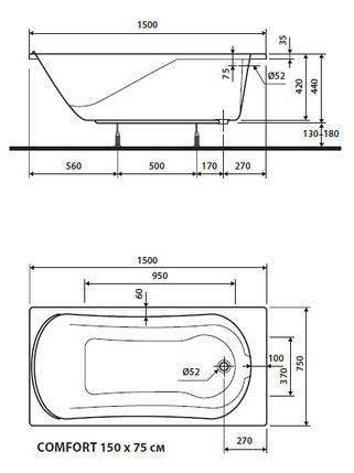 Ванна акриловая Kolo Comfort 150x75см Польша (с ножками), фото 2
