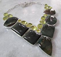 Ожерелье, колье из натуральной Яшмы и Лимонного Кварца