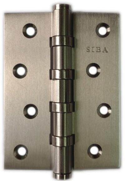 Петля ЛАТУННАЯ универсальная SIBA 4BB 100x75x3 SN (матовый никель), фото 1