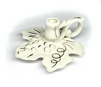 Подсвечник Лист винограда керамика