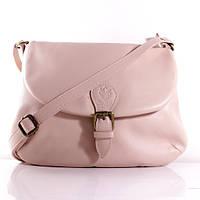 Итальянская кожаная сумка-мессенджер. Фурнитура серебристая BIL0-117 розовый