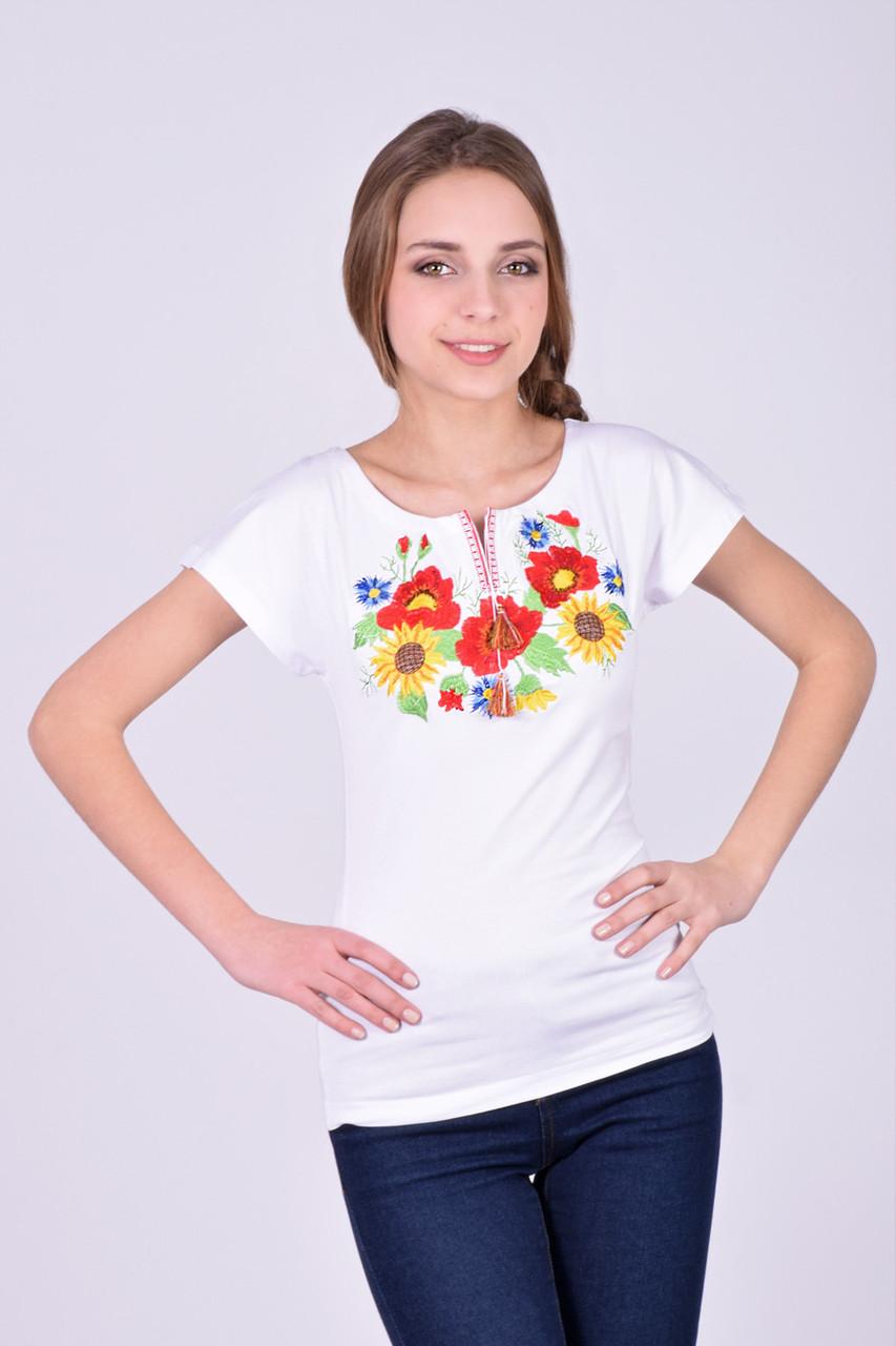 Стильная футболка вышиванка белая