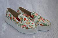 Слипоны кожаные в цветочек яркие, фото 1