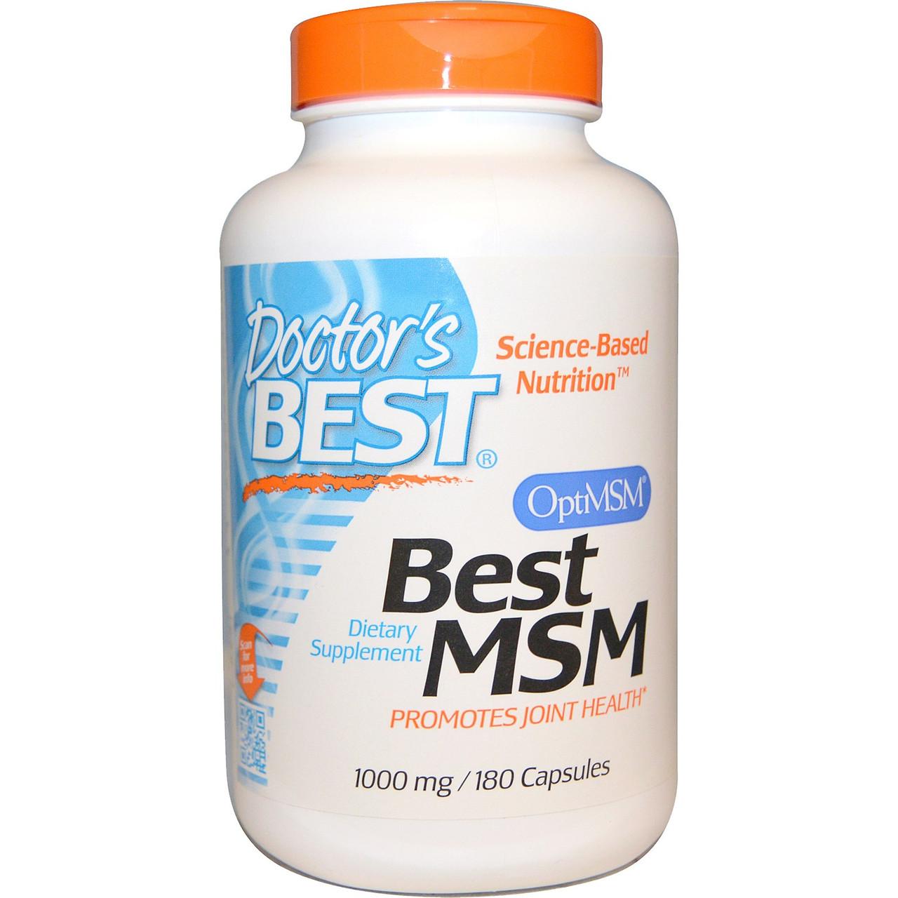 MSM (метилсульфонилметан), Doctor's Best, 1000 мг, 180 капсул