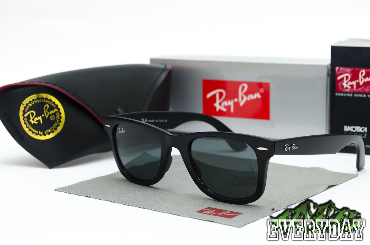 59ee0588af7a Солнцезащитные Очки Ray-Ban Wayfarer черные матовые СТЕКЛО -  Интернет-магазин Everyday в Кременчуге