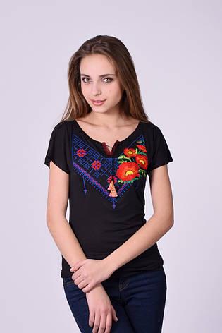 Стильная футболка вышиванка маки, фото 2