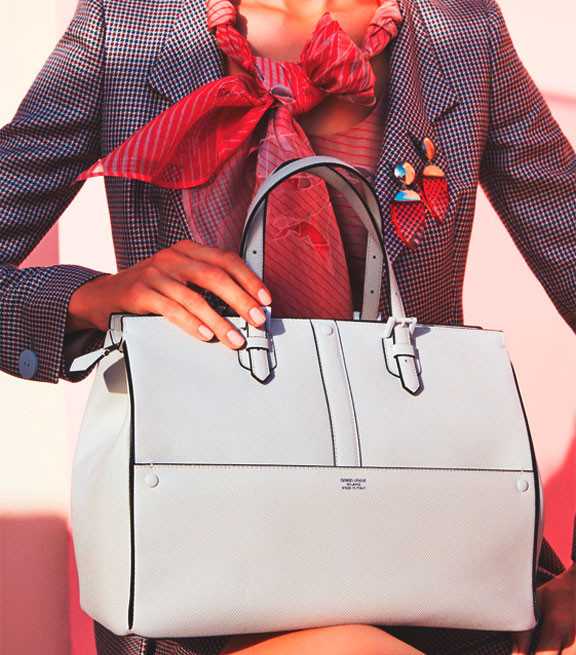 Tote Bag In Printed Calfscin By Armani Color White
