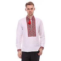 Льняная мужская рубашка с красной вышивкой