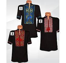 Черная мужская вышиванка с коротким рукавом, стрейч-хлопок, р.р.42-60