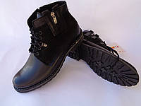 """Польские зимние мужские кожаные ботинки черного цвета фабрики """"Escott"""" на натуральном меху"""