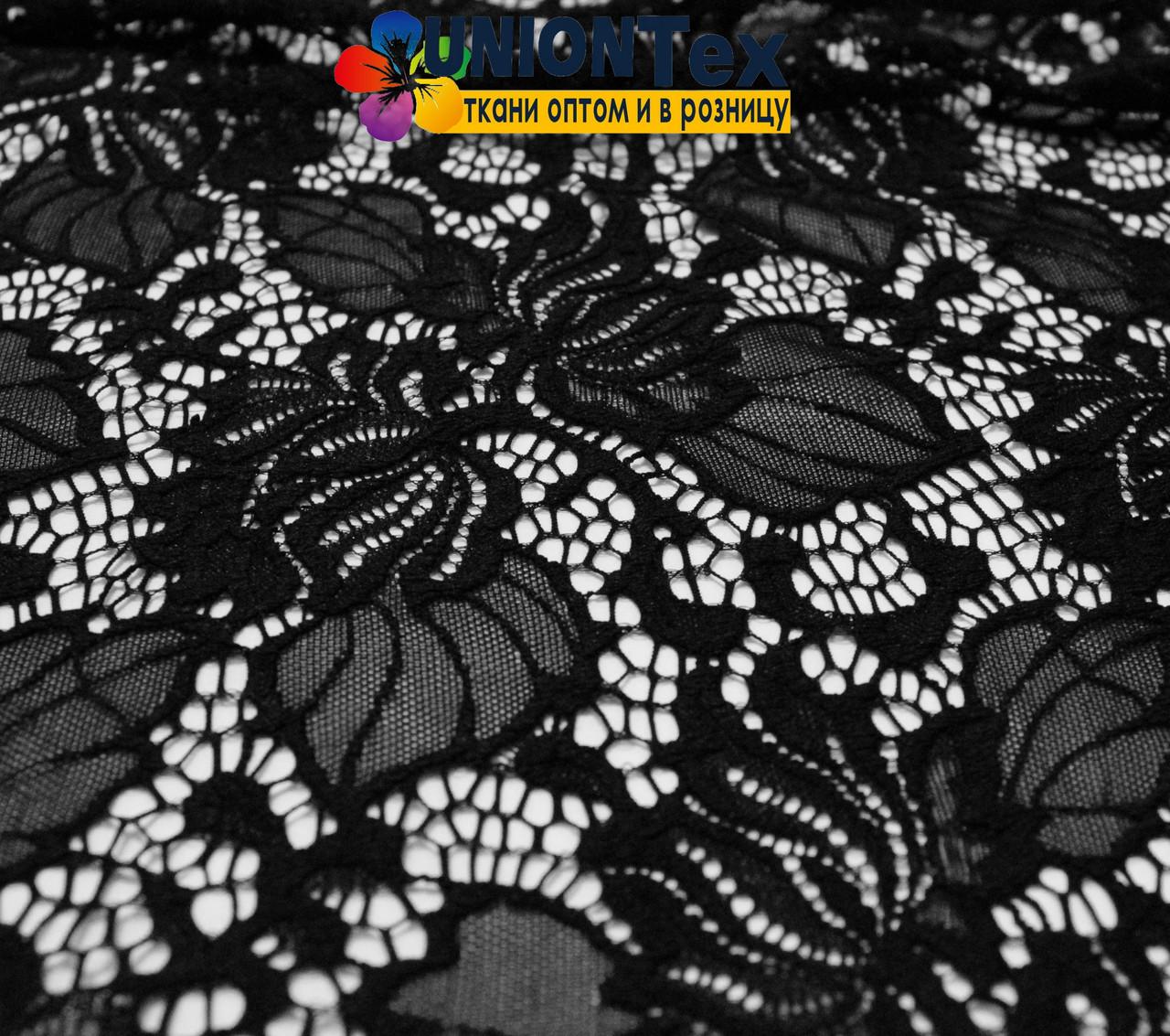 Ткань гипюр стрейчевый черный