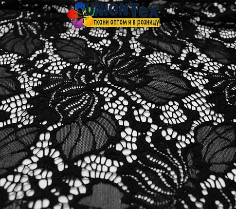 Ткань гипюр стрейчевый черный, фото 2
