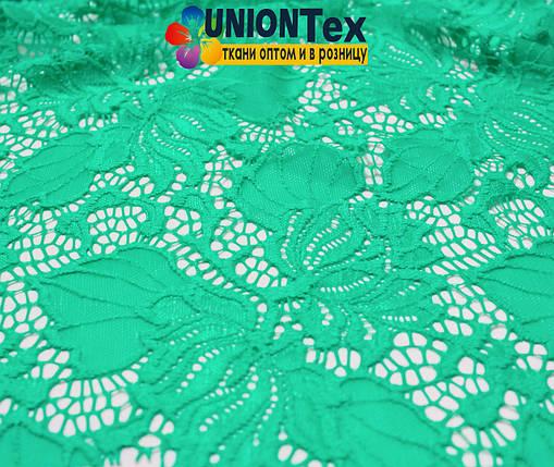 Ткань гипюр стрейчевый бирюзовый, фото 2