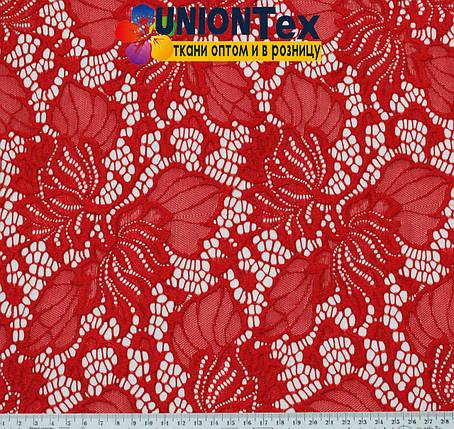 Ткань гипюр стрейчевый красный, фото 2