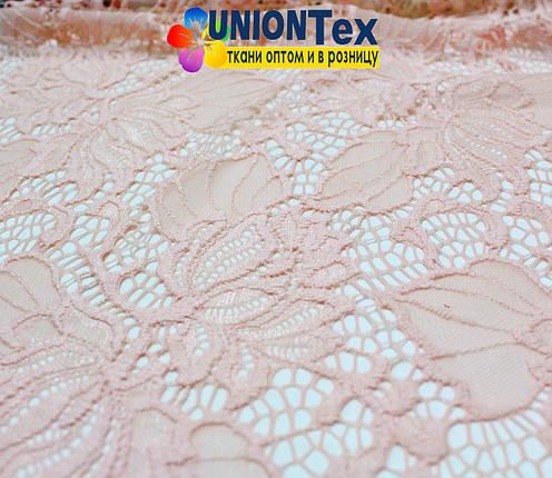 Ткань гипюр стрейчевый персиковый, фото 2