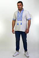 Мужская вышитая сорочка с вышивкой на светло-сером льне