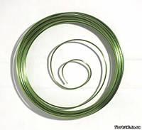 Проволока декоративная в мотке 2 мм., салатовая металлик