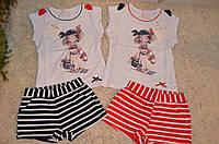 Комплект-двойка с шортиками  для девочек 3-8  лет