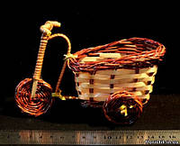 Велосипед из лозы для декора, 15 см.