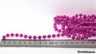 Гирлянда бусин металл розовый, 8 мм.