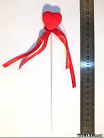 Сердечко на проволоке велюровое 3,5 см.