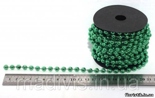 Гирлянда бусин металл зеленый, 8 мм.