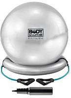 Мяч для пилатеса 55 см. (с эспандерами и надувной базой) Solex BB-011 (серый)