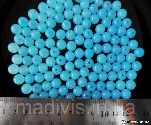 Бусины голубые 10 мм. (10 шт.)