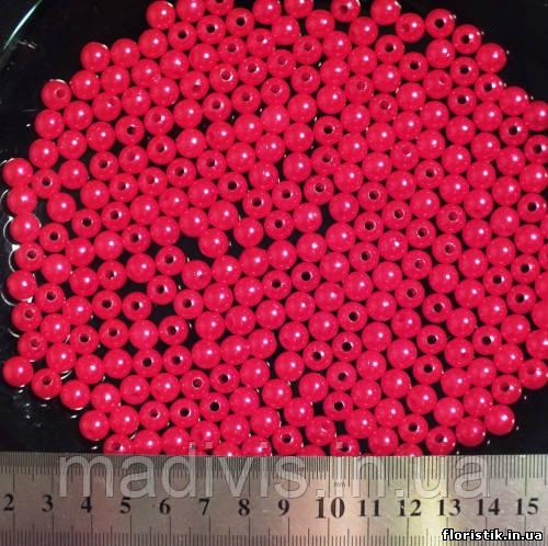 Бусины красный перламутр 8 мм. (10 шт.)