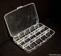 Коробочка для бисера 15 отделений (15 х 10 х 2,5 см.)