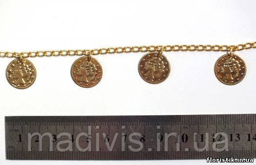 Цепочка декоративная под золото с монетками