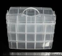 Бокс, органайзер для рукоделия прозрачный (30 отделении). Размеры: 25 х 17 х 19 см.