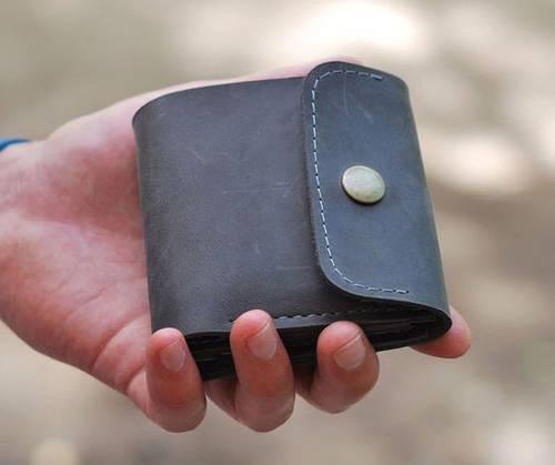 Строгое портмоне из натуральной кожи GBAGS W019 серый