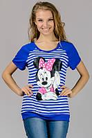 Женская футболка реглан полоска Mause (синяя полоска)